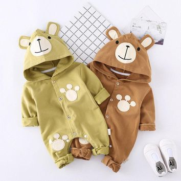 Newborn Unisex Baby Clothes Autumn Winter Baby Rompers Bear Style Baby Hoodies Jumpsuit Baby Girls Boys Romper Toddle Clothing