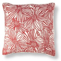 Threshold Square Pillow Red Textile Floral