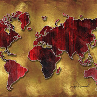 Original World Map Design Gold And Vibrant Red Unique Art By Megan Duncanson