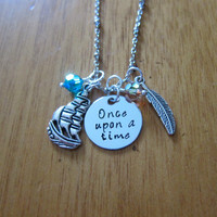 "Disney Inspired Pocahontas Necklace. ""Once Upon A Time"". Silver colored, Hand Stamped, Swarovski crystals. FREE shipping"