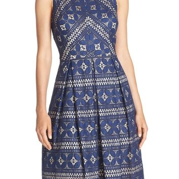 Eliza J Lace Inset Midi Dress | Nordstrom