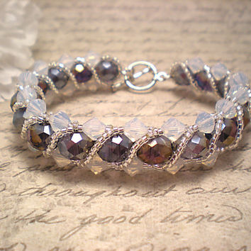 The Stella- Amethyst and Air Opal Swarovski Crystal Braided Bracelet with Silver Seed Bead Twisting Overlay