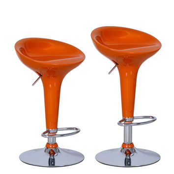 Adeco Orange High Gloss Form Fitted, Adjustable Backless Barstool Chrome Finish Pedestal Base (Set of two)