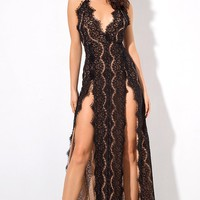 At First Sight Black Lace Sleeveless Spaghetti Strap V Neck Double Slit Maxi Dress