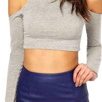 'The Latoya' Turtleneck Cut-out Sleeve Cropped Top