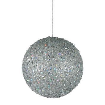 "Fancy Silver Holographic Glitter Drenched Christmas Ball Ornament 4.75"" (120mm)"