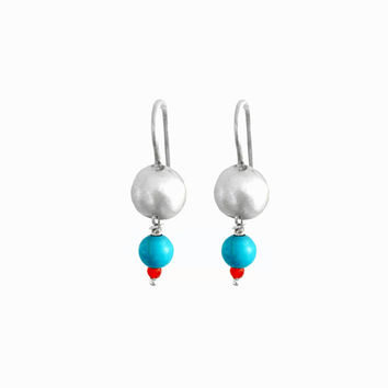 Turquoise Earrings, dangle earrings, Ready To Ship, turquoise Beads, Silver Earring, turquoise drop earrings, tiny earrings, dainty earrings