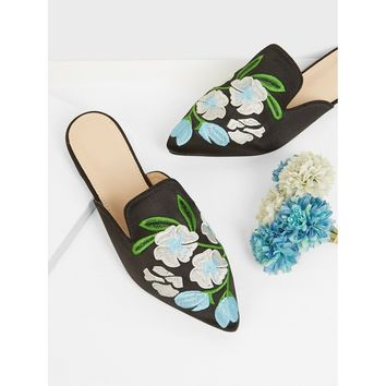 Floral Embroidered Flat Mules Black