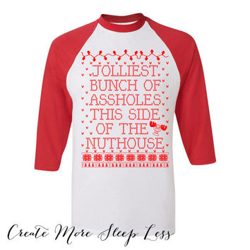 Christmas Movie Baseball Tee. Buddy The Elf What's Your Favorite Color. Christmas Sweater. Jumper Pullover. Womens Ladies Outfit.