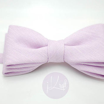 pastel lilac purple bow tie,soft lavender,violet,velcro strap,toddler,groom,groomsmen,men accessory,pastel theme wedding,cotton linen fabric