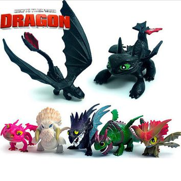 7 Pcs/set High Quality How To Train Your Dragon Toys Toothless Action Figure NightFury Dragon PVC Model Children kids toys