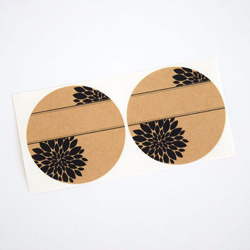 Pretty Round Labels with Mum Flower Pattern - Spice Labels Pantry Labels