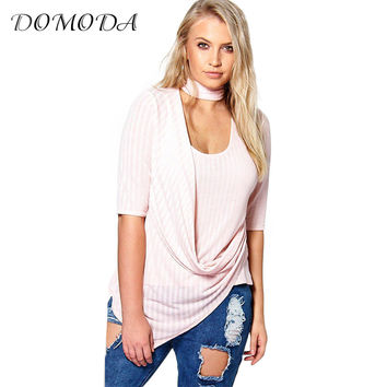 Plus Size New Fashion Women Clothing Casual OL Style Halter Sexy Tops Knitted O-Neck Big Size Shirt 3XL 4XL 5XL 6XL
