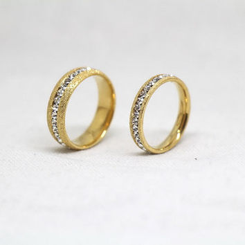 2pcs-Free Engraving,Yellow Matte rings, Switzerland diamond ring, promise ring,couple Rings, Lovers rings