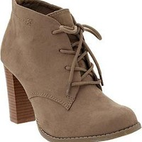 Women's Faux-Suede Heeled Oxfords   Old Navy