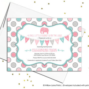 Aqua, gray and pink elephant baby shower invitation for girls - baby shower invite elephant - polkadots - printable or printed - WLP00740