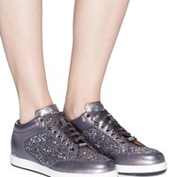 Jimmy Choo | 'Miami' leather trim star coarse glitter sneakers | Women | Lane Crawford - Shop Designer Brands Online