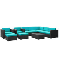 Wicker Patio 10 Piece Sectional Sofa Set Espresso / Turquoise