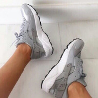 Nike Air Huarache Women Running Sport Casual Shoes Sneakers Grey
