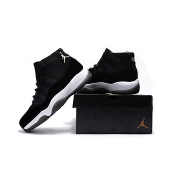 Air Jordan Retro 11 Velvet Black Gold Basketball Shoes With Flowers Pattern Men Women 11s Black Velvet Sports Sneakers High Quality With Shoes Box