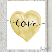 Black and gold love heart print Heart printable Gold heart Nursery heart wall art Watercolor heart Nursery art DOWNLOAD 16x20 11x14 5x7 8x10