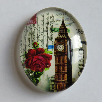 Vintage Steampunk Style Big Ben Red Rose London Travel Glass Oval Cabochon 40x30mm Extra Large Size #C4030-TRAV-2