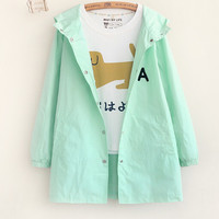 Regular Sleeve Letter Embroidery Pattern Hooded Windbreaker Jacket