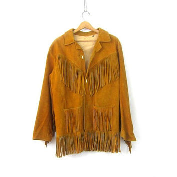 1970s Vintage Brown suede leather fringe coat Fringed Leather jacket Unisex Cowboy Western jacket Hipster Boho Coat Size Large XL