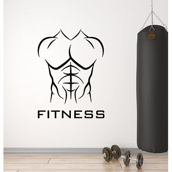 Vinyl Wall Decal Body Building Athletic Fitness Club Iron Gym Sport Decor Stickers Mural (g884)