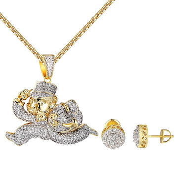 Monopoly Man Running Pendant Halo Stud Earrings 10mm W/ Chain Gold Tone Iced Out