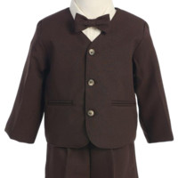 Brown Eton Jacket & Shorts Outfit 4 Pc Suit (Baby or Toddler Boys)