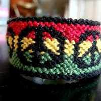 Peace Rasta //  reggae jamaican hippie bob peace sign marley boardered friendship bracelet