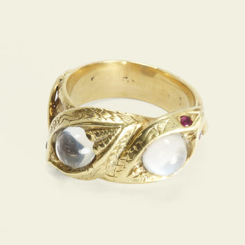 Moonstone and Ruby Double Snake Ring