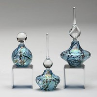 Cherry Blossom Perfume Bottles Blue by Bryce Dimitruk: Art Glass Perfume Bottle | Artful Home