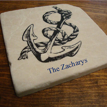 Personalized Nautical Anchor and Rope Coaster Set of Four - Great Anniversary or Wedding Gift - Tied the Knot
