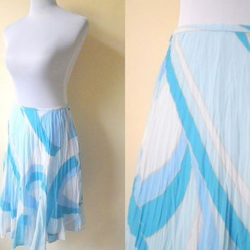 white and blue printed A line skirt (28 inches)