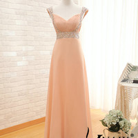 2014 Prom Dress Cap Sleeve Beading Lace Up Back A Line Ruffle Long Chiffon Long Crystal Bridesmaid Dress Wedding Party Dresses