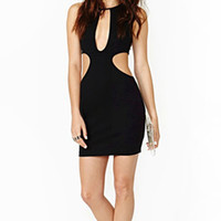 Black Mesh Bodycon Cutout Dress