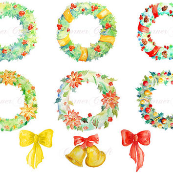 Digital watercolour Christmas Wreaths red yellow green instant download scrapbook watercolor cards wedding invitations clipart
