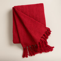 Red Chunky Chenille Throw - World Market
