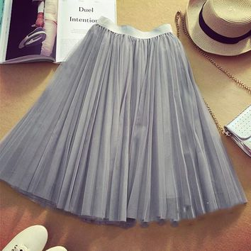 Grey Plain Tiered Knee Length Sweet Tutu Chiffon Skirt