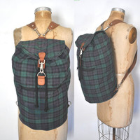 Plaid Leather Backpack Bookbag / unisex duffel