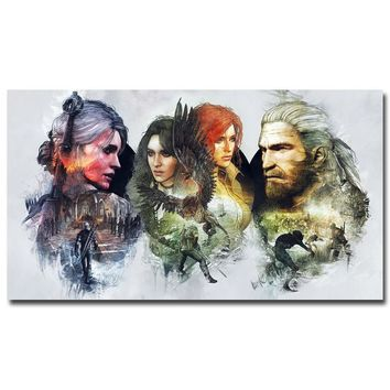 Geralt - The Witcher 3 Wild Hunt Hot Game Art Silk Fabric Poster Print 13x24 24x43inch Wall Pictures For Room Decor TW024