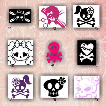 GIRLY SKULLS vinyl decals - 1-9 - custom car window stickers - skull and crossbones with bow - cute skull stickers