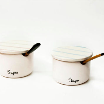 Ceramic sugar bowl with lid / Pottery sugar bowl / Serving sugar bowl / Sugar set / Sugar / Ceramics & pottery / Viruset scandinavian