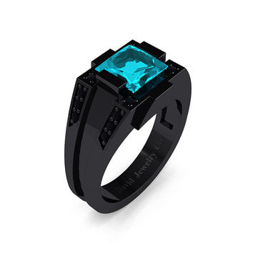 Mens Modern 14k Black Gold 2.0 Carat Princess Blue Zircon Black Diamond Wedding Ring R1020M-14KBGBDBZ
