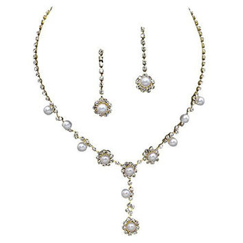Stunning Y Drop Bridal Wedding Cream Pearl Necklace Earring Set Gold Tone Bling AB5