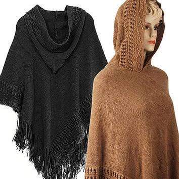 Knotty Affair Shawl Pancho With Hood