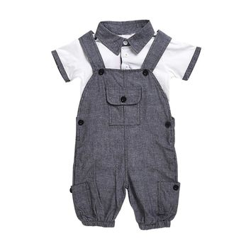 Newborn boys clothing sets gentleman Turn-down Collar T-shirt and suspender pants Kids Outfits baby boy clothes