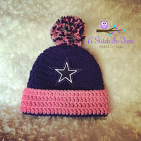 NFL Baby Girl Beanie/Hat with trim and Pom Pom Photo Prop for any football team of your choice Newborn - Adult Size